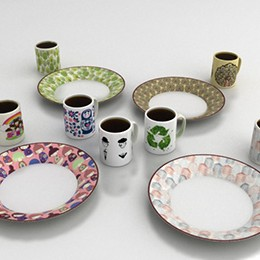 Ceramic mugs and plates designs