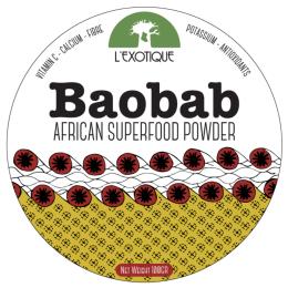 Baobab superfood powder packaging design