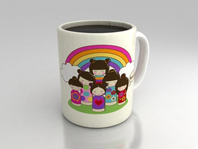 kokeshi doll mug