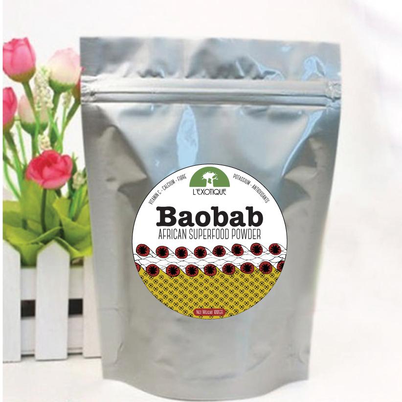 Baobab superfood powder packaging design